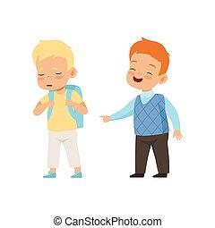 못된, 소년, 비웃는 것, 와..., 손으로 가리키는 것, 또 하나의, 나쁜 행동, 충돌, 사이의, 키드...