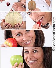 몽타주, 식사를 하고 있는 여성, 과일