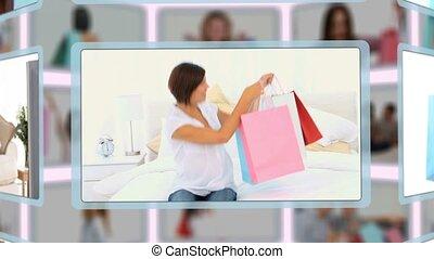 몽타주, 의, 한 쌍, 와..., 가족, 즐기, 조금의, 쇼핑, 순간, 함께, 집의