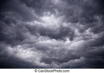 무거운, 강풍, 검정, 폭풍우다, 구름