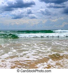 무거운, cloudscape, 해변., 폭풍우, 극적인, sri, 비, 열대적인, lanka., 해안선, 수평선, 모래의