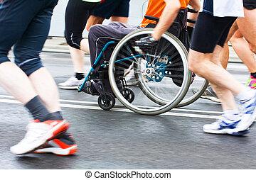 무능력해지는 운동 선수, 에서, a, 스포츠, 휠체어
