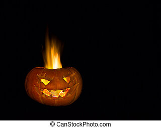 무서운, 머리, 만든, 의, pumpkin., a, 실상의, fire.
