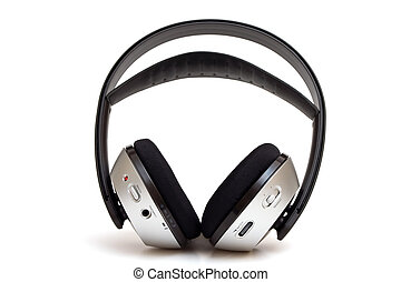 무선, 헤드폰, 고립된, 백색 위에서