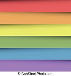 무지개, 은 시트를 깔n다, 다채로운, spectrum., 떼어내다, 벽지, 부분적으로 덮음, 종이, effect., 색, 벡터, 배경, 그림자, 행복하다