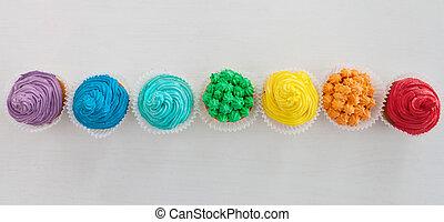 무지개, 컵케이크, 통하고 있는, 그만큼, 백색 배경, 와, 사본 공간