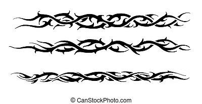 문신, 예술, 밑그림, 의, a, 검정, 종족의, 팔찌