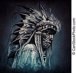문신, 예술, 초상, 의, american indian, 머리, 위의, 암흑, backgroun