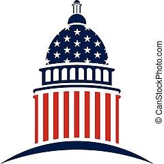 문자로 쓰는, 국회 의사당, 미국 영어, 벡터, 디자인, logo.