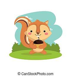 문자로 쓰는, 다람쥐, 삼림지, 벡터, animal., icon., 만화