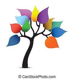 문자로 쓰는, 색, 나무, 공상, 벡터, design.