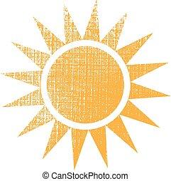 문자로 쓰는, 태양, 직물, 벡터, 디자인, logo.
