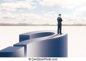 문제, 개념, 와, 실업가, 통하고 있는, 물음표