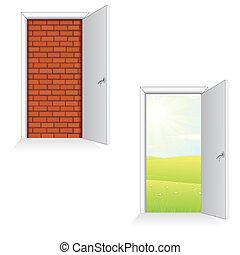 문, 열는, 고립된, 삽화, ideas., 벡터