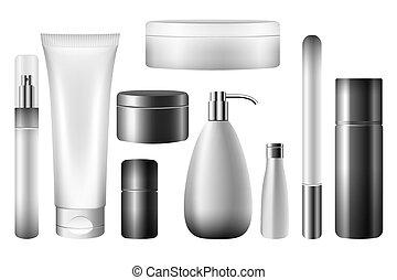 물건, 고립된, 화장품, 벡터, 공백, 백색, 튜브