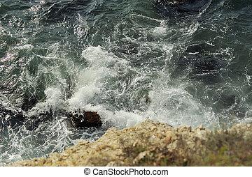물, 통하고 있는, a, 돌