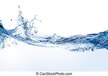 물, 튀김, 고립된, 백색 위에서