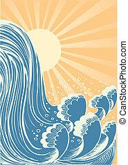 물, 파랑, waterfall., 배경, 태양, 파도, 벡터