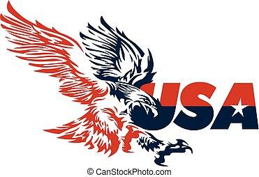 미국, 디자인, 와, 독수리