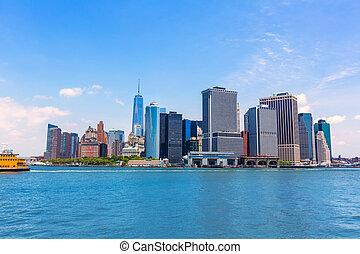미국, 만, ny지평선, 요크, 새로운, 맨해튼