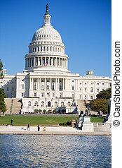 미국 미 국회의사당, 건물, 반사되는 풀, 워싱톤 피해 통제
