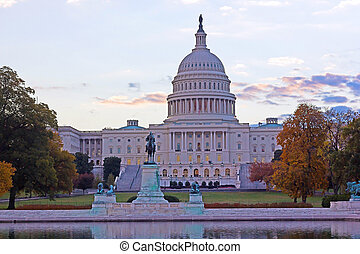 미국 미 국회의사당, 건물, 에, 가을, 새벽, 워싱톤 피해 통제