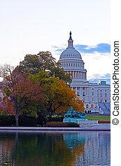 미국 미 국회의사당, 건물, 에, 새벽, 에서, 가을, 색