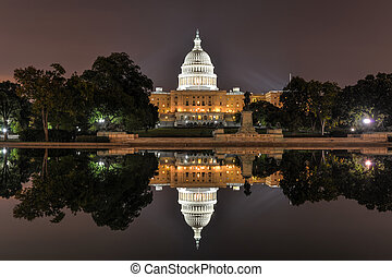 미국 미 국회의사당, 에서, 워싱톤 피해 통제, 밤에