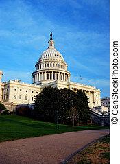 미국 미 국회의사당, 에, 일몰, 워싱톤 피해 통제