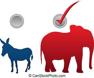 미국 영어, 선거, 삽화
