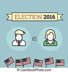 미국 영어, 선거, 2016., 2, candidates., 바람 빠진 타이어, 스타일, illustration.