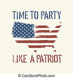 미국 영어, 애국의, 포스터, 벡터, eps10