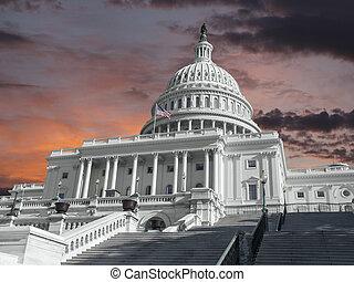 미국, 주의사당 건물, 와, 새벽, 하늘