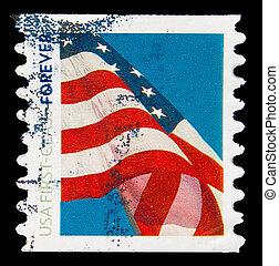 """미국, -, circa, 2011:, a, 우표, 인쇄된다, 에서, 미국, 기, """"usa, 처음,..."""