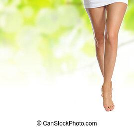 미덥지 않은, 여성, 다리, 제작, 단계, 위의, 녹색