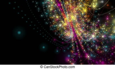 미래다, 비디오, 생기, 와, 입자, 줄무늬, 물건, 와..., 빛, 미광, 에서, 고속도 촬영에 의한...