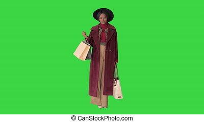 미소, 녹색, key., 쇼핑 백, 자세를 취함, 화려한, chroma, 여자, 모자, 스크린