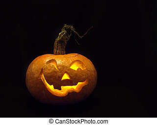미소, 만든, 머리, pumpkin.