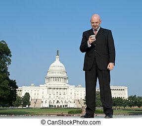 미소, 백색, 로비스트, 서 있는, 정면, 미국 미 국회의사당