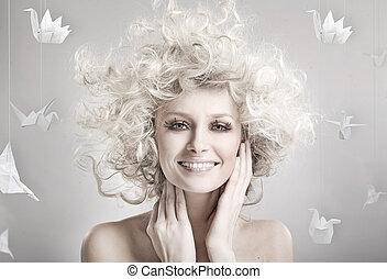 미소, 블론드인 사람, 아름다움