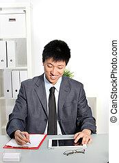 미소, 아시아 사람 사업, 남자