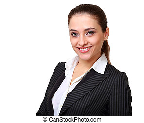 미소, 여류 실업가, 복합어를 이루어 ...으로 보이는 사람, 고립된, 백색 위에서, 배경