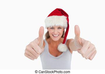 미소 여자, 와, 그만큼, 위로의엄지, 와..., a, 크리스마스 모자