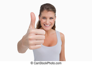 미소 여자, 와, 그만큼, 위로 엄지손가락