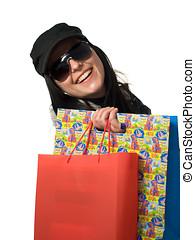 미소 여자, 와, 쇼핑 백, 고립된, 통하고 있는, 그만큼, 백색 배경
