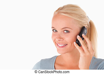 미소 여자, 전화로