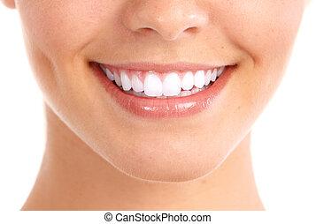 미소, 와..., 건강한, teeth.