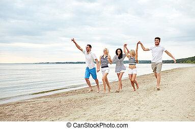 미소, 친구, 에서, 색안경, 해변 위를 걷는 것