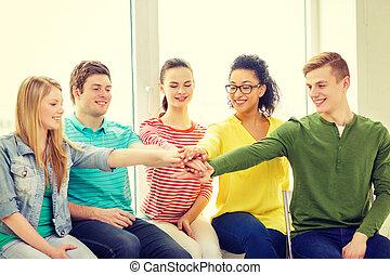 미소, 학생, 와, 위에의손, 정상, 의, 서로