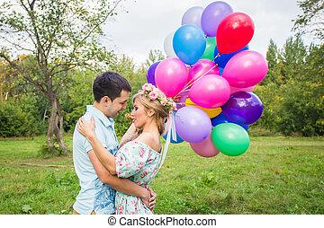 미소, 한 쌍, 사랑안에, 와, 기구, 에서, 자연